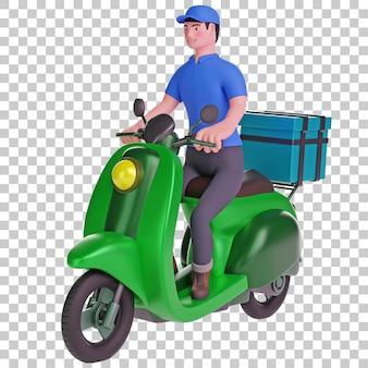 Ilustração 3d do entregador andando de scooter