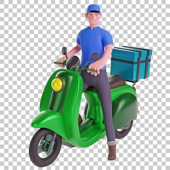 Ilustração 3d do entregador de passeio de scooter