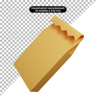 Ilustração 3d do envoltório de utensílios de cozinha