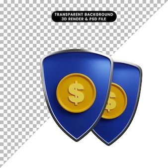 Ilustração 3d do escudo do conceito de pagamento com ícone de moeda