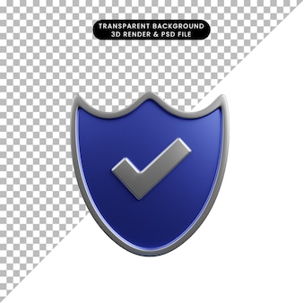 Ilustração 3d do escudo do conceito de segurança com ícone da lista de verificação