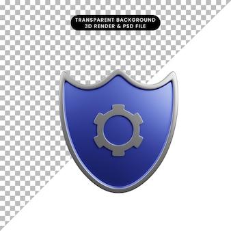 Ilustração 3d do escudo do conceito de segurança com ícone de engrenagem