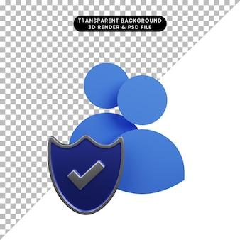 Ilustração 3d do escudo do conceito de segurança com ícone de pessoas