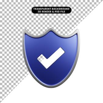 Ilustração 3d do escudo do conceito de segurança com lista de verificação
