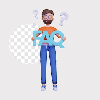 Ilustração 3d do faq com ponto de interrogação