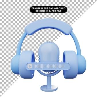 Ilustração 3d do fone de ouvido com microfone e nota de voz