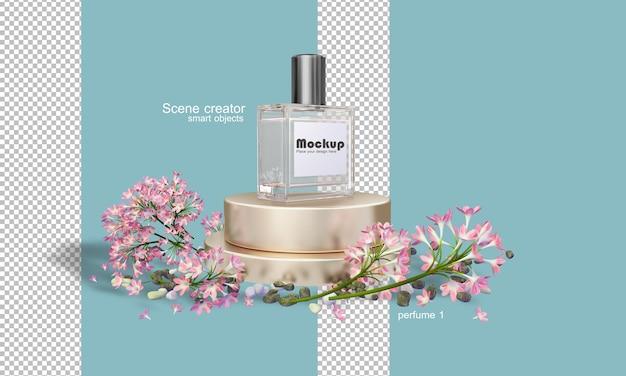 Ilustração 3d do frasco de perfume entre flores
