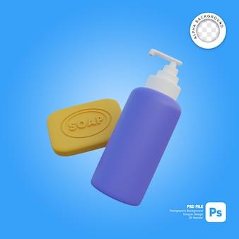 Ilustração 3d do frasco de sabão e sabão