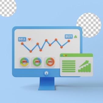Ilustração 3d do gráfico de compra e venda de ações