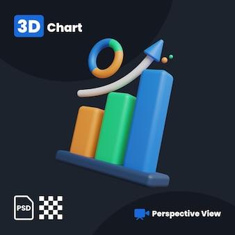 Ilustração 3d do gráfico de negócios com uma visão em perspectiva