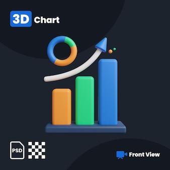 Ilustração 3d do gráfico de negócios com uma vista frontal