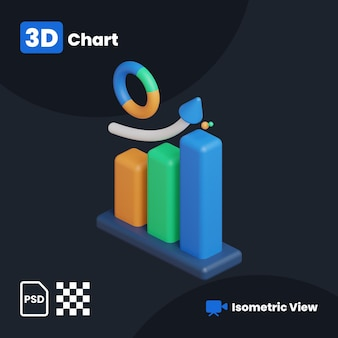 Ilustração 3d do gráfico de negócios com uma vista isométrica