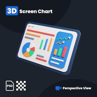 Ilustração 3d do gráfico financeiro da tela com uma visão em perspectiva