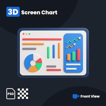 Ilustração 3d do gráfico financeiro da tela com vista frontal