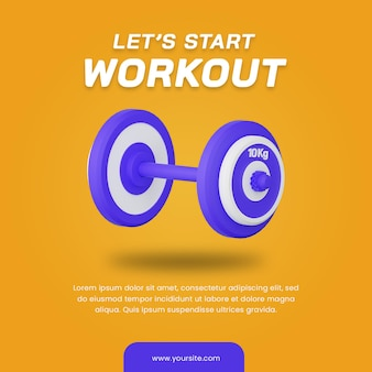 Ilustração 3d do haltere. muito útil para ilustração de esportes. modelo de design de postagem de mídia social.
