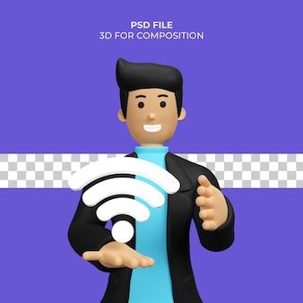 Ilustração 3d do homem com ícone de wi-fi premium psd
