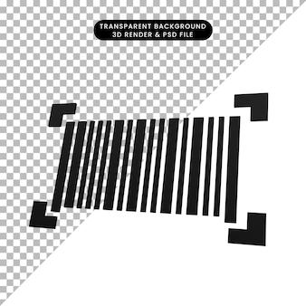 Ilustração 3d do ícone de código de barras simples
