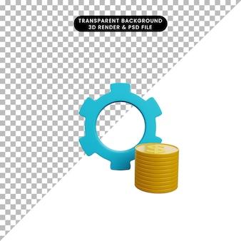 Ilustração 3d do ícone de engrenagem com moeda