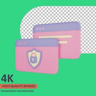 Ilustração 3d do ícone do cartão cibernético renderização de alta qualidade