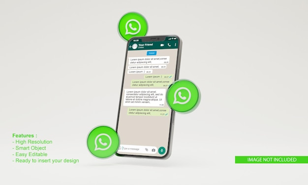 Ilustração 3d do ícone do whatsapp maquete de telefone móvel