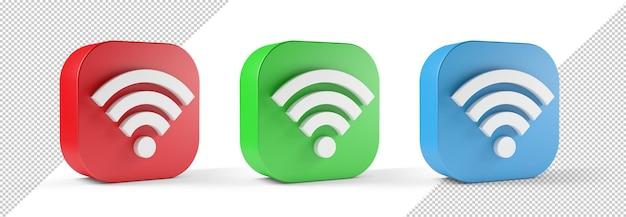 Ilustração 3d do ícone do wifi vermelho verde azul isolado