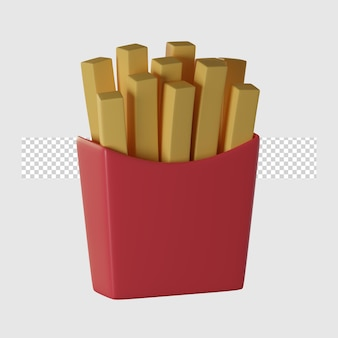 Ilustração 3d do ícone dos desenhos animados de batatas fritas