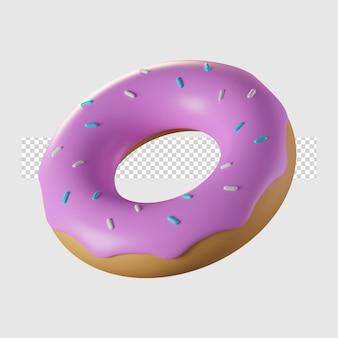 Ilustração 3d do ícone dos desenhos animados de donut