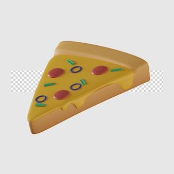 Ilustração 3d do ícone dos desenhos animados de pizza