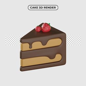 Ilustração 3d do ícone dos desenhos animados do bolo de chocolate