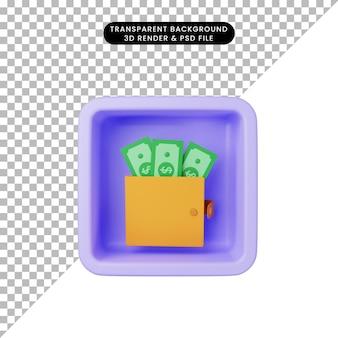 Ilustração 3d do ícone simples de dinheiro na carteira no cubo