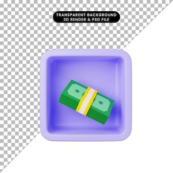 Ilustração 3d do ícone simples de dinheiro no cubo