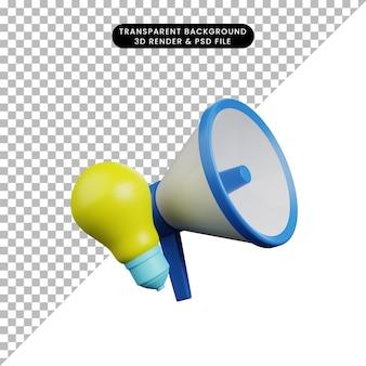 Ilustração 3d do ícone simples do megafone com lâmpada