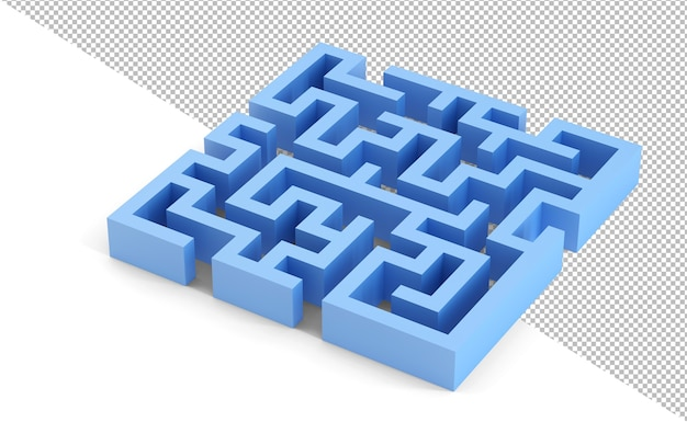 Ilustração 3d do labirinto 3d ao quadrado azul
