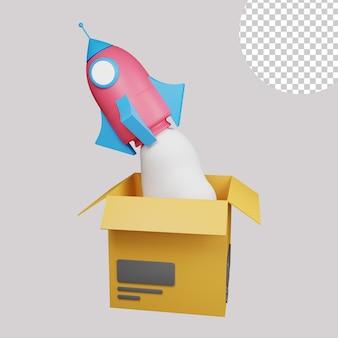 Ilustração 3d do lançamento de correio
