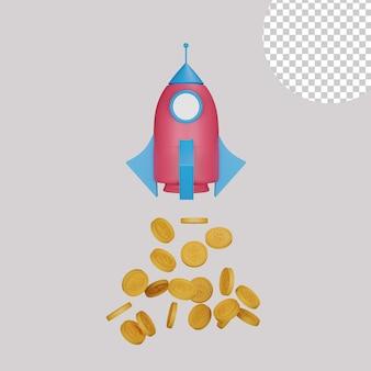 Ilustração 3d do lançamento inicial