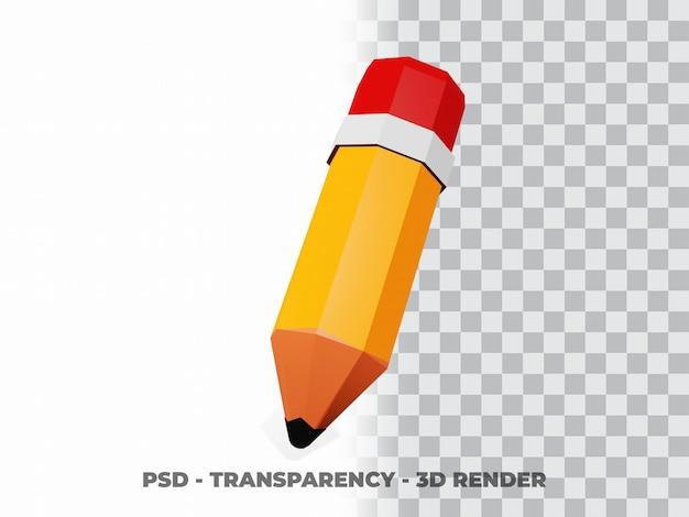 Ilustração 3d do lápis. conceito de ícone de objeto de educação isolado com fundo de transparência
