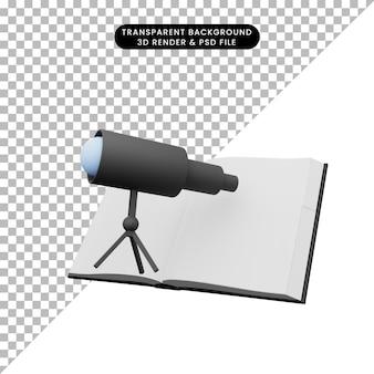 Ilustração 3d do livro com telescópio