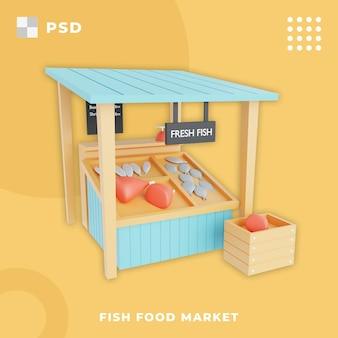 Ilustração 3d do mercado de comida de peixe mercado tradicional de peixe fresco