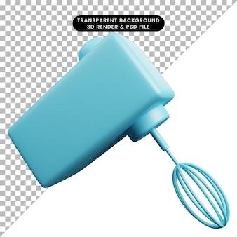Ilustração 3d do misturador de utensílios de cozinha