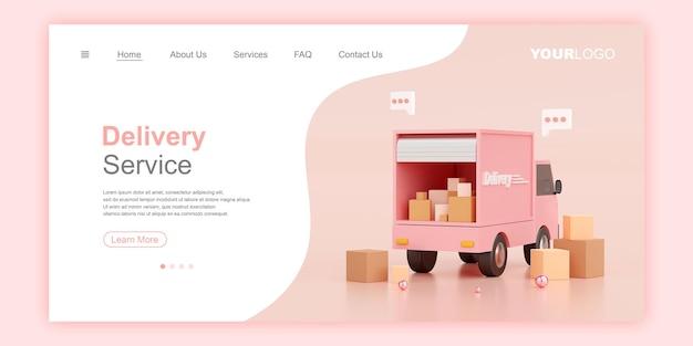 Ilustração 3d do modelo da página de destino do banner da web do serviço de entrega