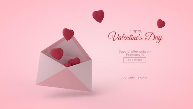 Ilustração 3d do modelo de cartão postal do dia dos namorados