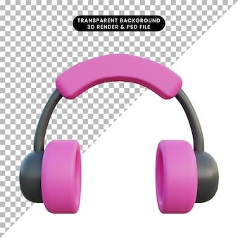Ilustração 3d do objeto de fone de ouvido rosa