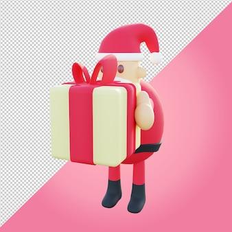 Ilustração 3d do papai noel segurando uma caixa de presente amarela para apresentação de natal