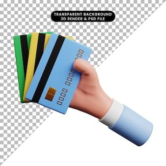 Ilustração 3d do papel de ícone do conceito de pagamento com a mão segurando 3 cartões de crédito