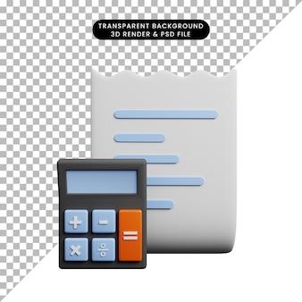 Ilustração 3d do papel de ícone do conceito de pagamento com calculadora
