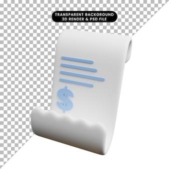 Ilustração 3d do papel de recibo do conceito de pagamento com o ícone de um dólar