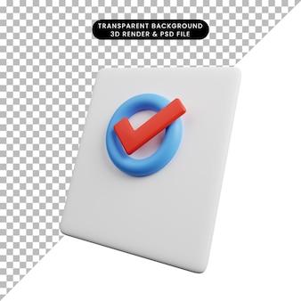 Ilustração 3d do papel em branco do conceito de lista de verificação