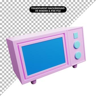 Ilustração 3d do pequeno forno para utensílios de cozinha