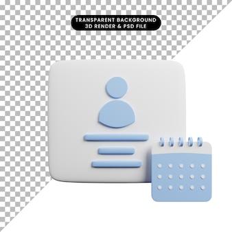 Ilustração 3d do perfil com conceito de tempo com calendário