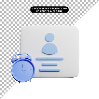 Ilustração 3d do perfil com conceito de tempo com despertador